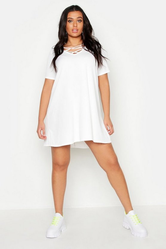 Womens White Plus  Rib Cross Front Swing Dress