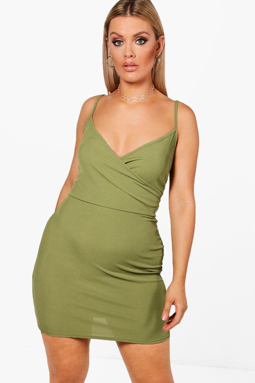 7d2c611a73dc Plus Tamara Rib Wrap Over Bodycon Dress   Boohoo