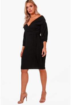 Plus Off-Shoulder Midi Kleider mit Wickeldesign, Schwarz