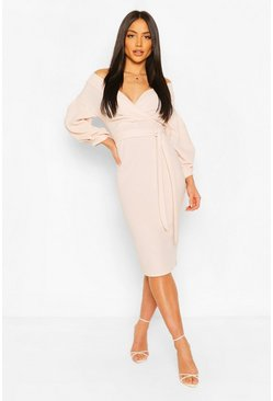 Plus  Off The Shoulder Wrap Midi Dress, Blush