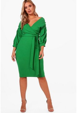Plus  Off The Shoulder Wrap Midi Dress, Leaf green, Donna