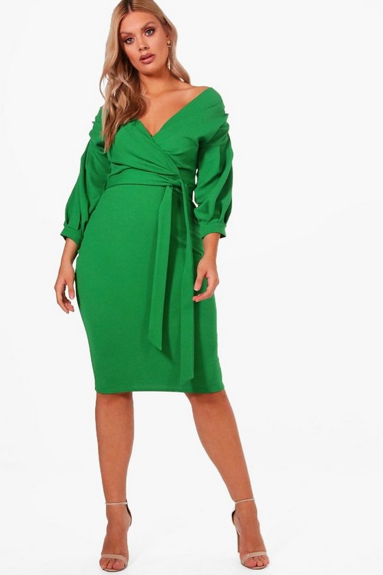 Womens Leaf green Plus  Off The Shoulder Wrap Midi Dress