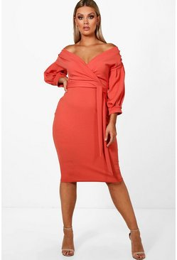 Plus  Off The Shoulder Wrap Midi Dress, Sahara red, Donna