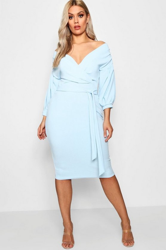 Womens Sky Plus  Off The Shoulder Wrap Midi Dress
