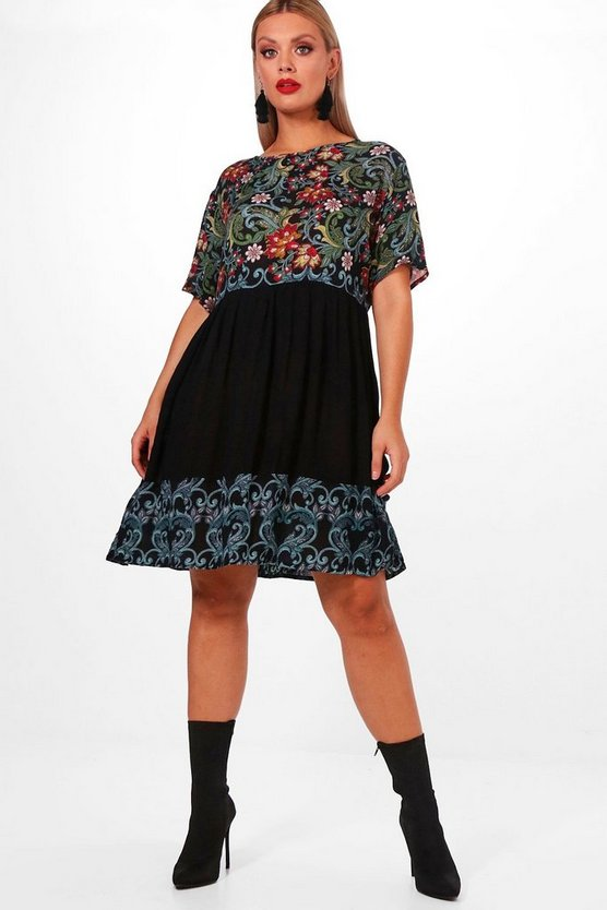 Plus Rachel Floral Printed Smock Dress