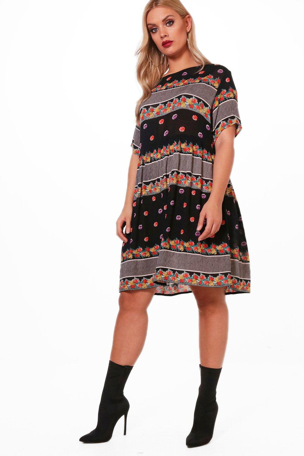 Plus Floral Smock Dress | Boohoo