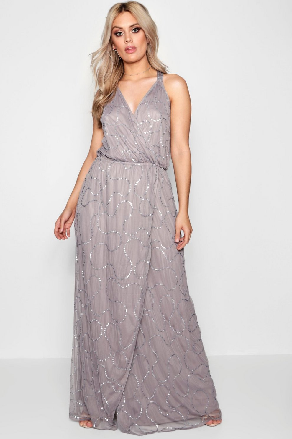 af100b207671d Plus Plunge Wrap Front Sequin Maxi Dress | Boohoo