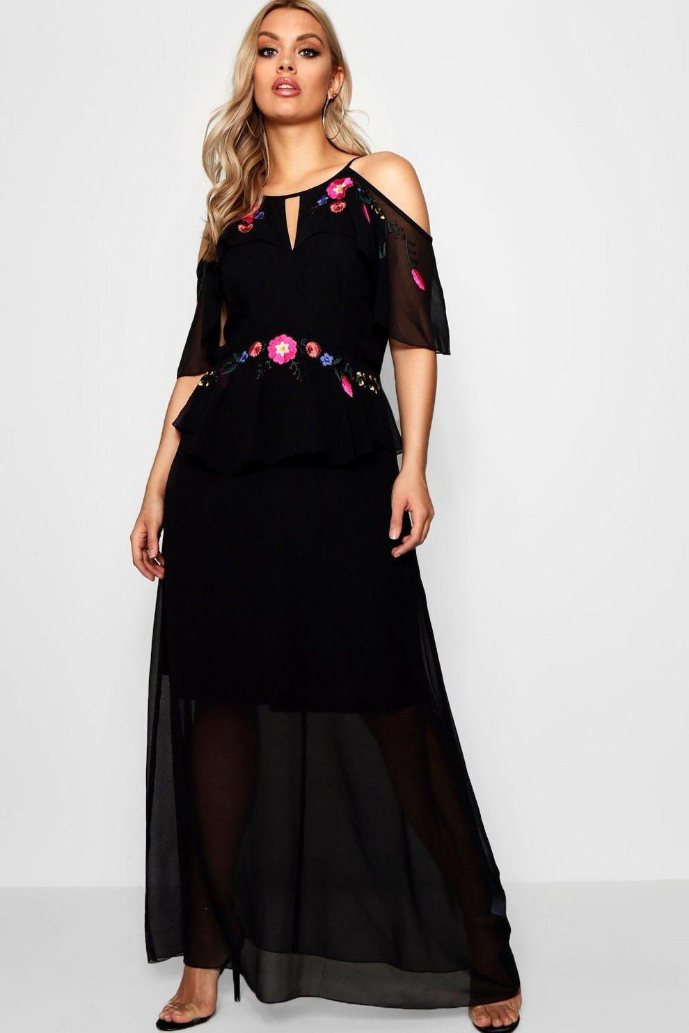 c81549609fec Plus Boutique Embroidered Ruffle Maxi Dress | Boohoo