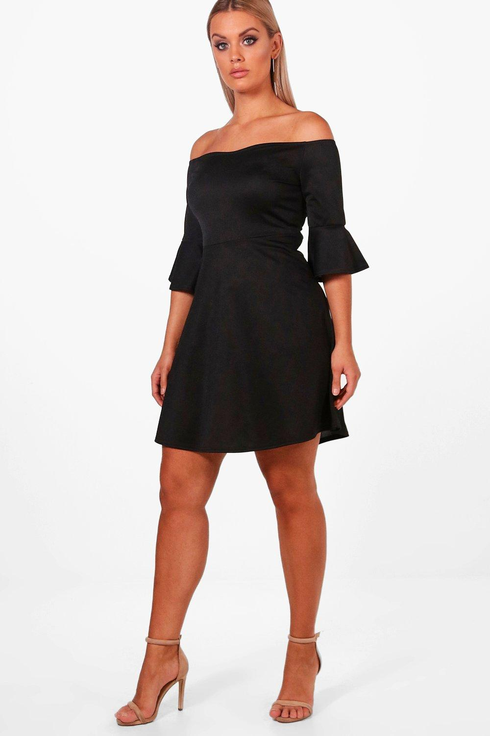 Product photo of Plus off the shoulder ruffle skater dress