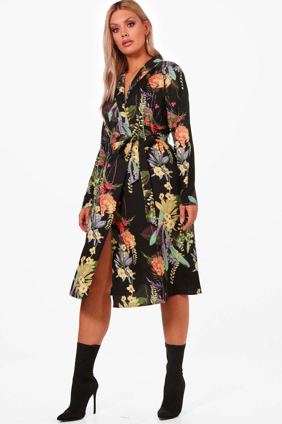22fc6a9762e1 Plus Oriental Kimono Wrap Dress   Boohoo