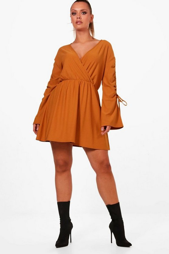 Plus Crepe Ruched Tie Sleeve Skater Dress