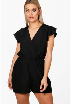 Womens Black Plus  Ruffle Sleeve Playsuit