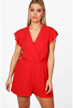 Plus  Ruffle Sleeve Playsuit, Red, FEMMES
