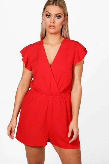 Womens Red Plus  Ruffle Sleeve Playsuit