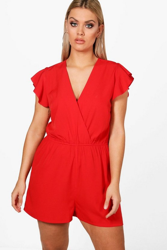 Plus Ruffle Sleeve Playsuit