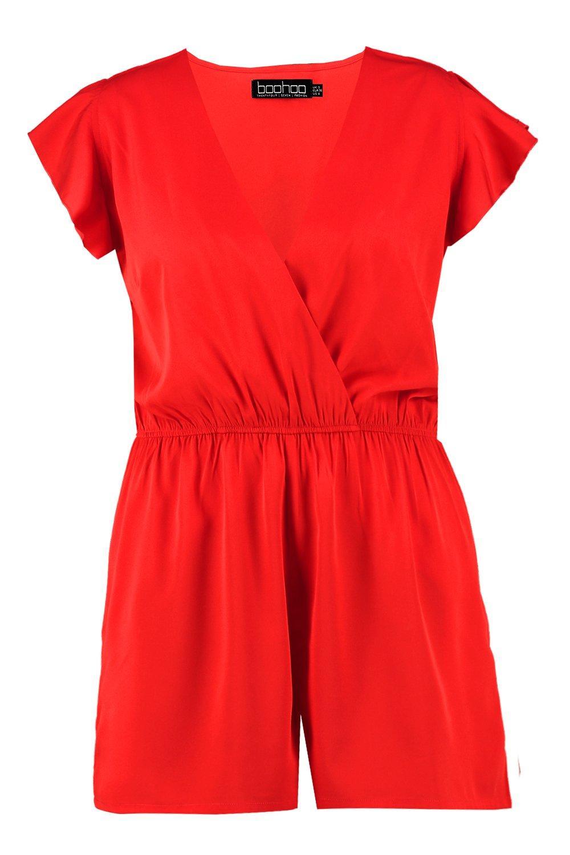 Sleeve Playsuit Ruffle Ruffle red Sleeve red Playsuit Plus Plus wRHUPUqY