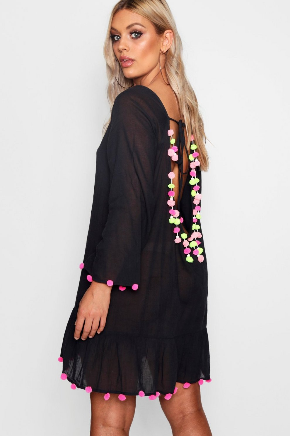 8c06e935a1 Plus India Pom Pom Open Back Kaftan | Boohoo