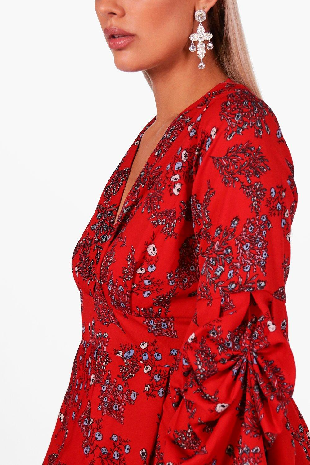 Sleeve Floral red Top Ruched Smock Plus wxEOqfFgg