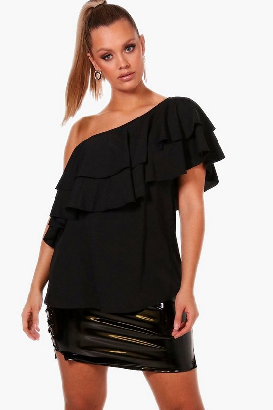 Plus Ruffle One Shoulder Blouse