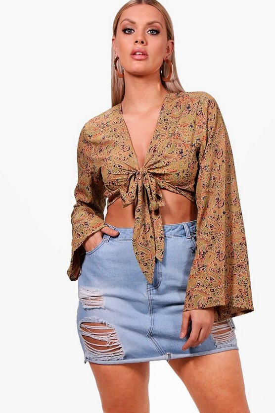 Plus Tie Front Paisley Top