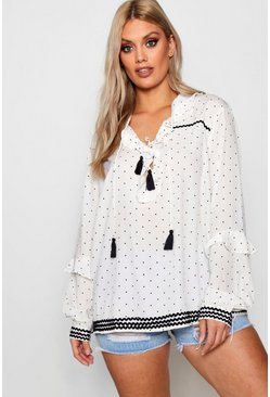 Womens Ivory Plus Rita Ruffle Collar Polka Dot Smock Top