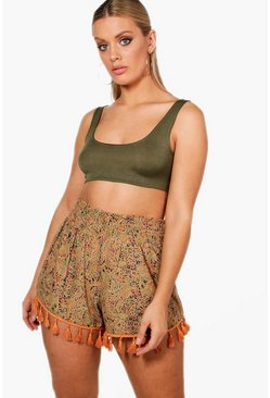 Womens Olive Plus Tassel Trim Paisley Runner Shorts