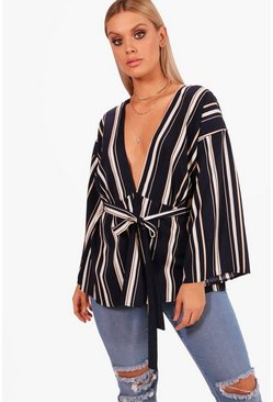 Womens Navy Plus Woven Stripe Belted Top