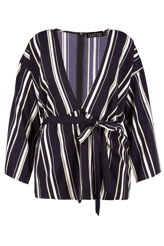 Top navy Belted Stripe Plus Woven qzw7Rna