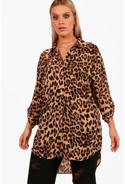 Plus  Leopard Print Oversized Shirt, Brown, FEMMES
