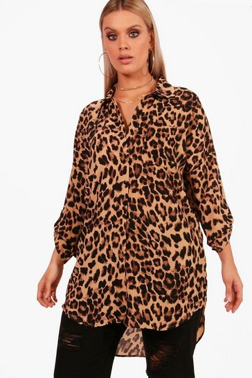 Womens Brown Plus  Leopard Print Oversized Shirt