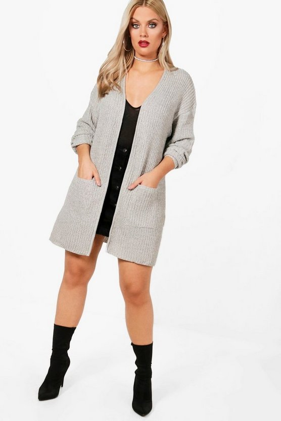 Plus Shawl Collar Cardigan