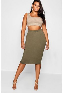 Womens Khaki Plus  Midi Tube Skirt