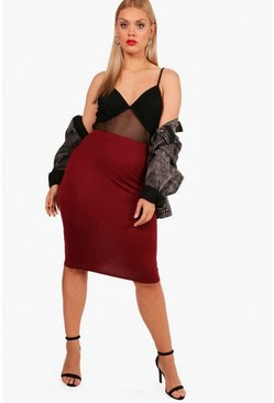 Wine Plus  Midi Tube Skirt