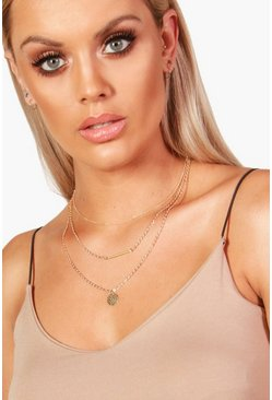 Womens Gold Plus  Coin Detail Choker Necklace