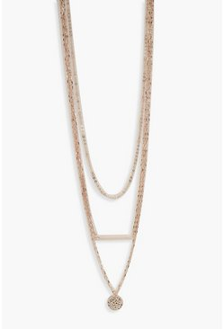 Womens Rose gold Plus  Coin Detail Choker Necklace