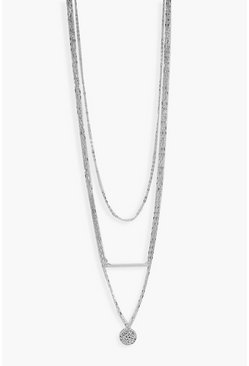 Silver Plus  Coin Detail Choker Necklace
