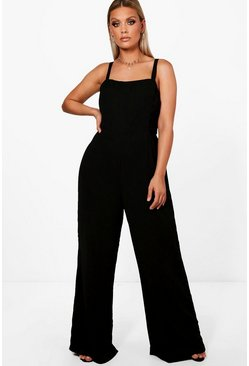 Womens Black Plus Square Neck Wide Leg Jumpsuit