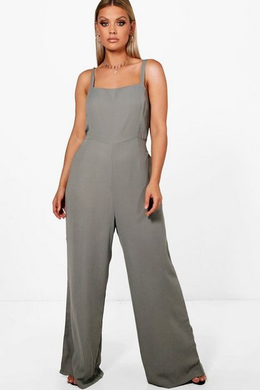 Womens Grey Plus Square Neck Wide Leg Jumpsuit