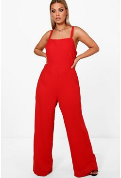 Plus Square Neck Wide Leg Jumpsuit, Red, Femme