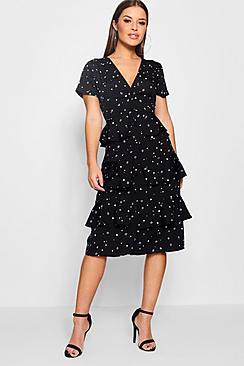 1930s Style Dresses | 30s Art Deco Dress Petite Ellie Star Printed Ruffle Hem Midi Dress $20.00 AT vintagedancer.com