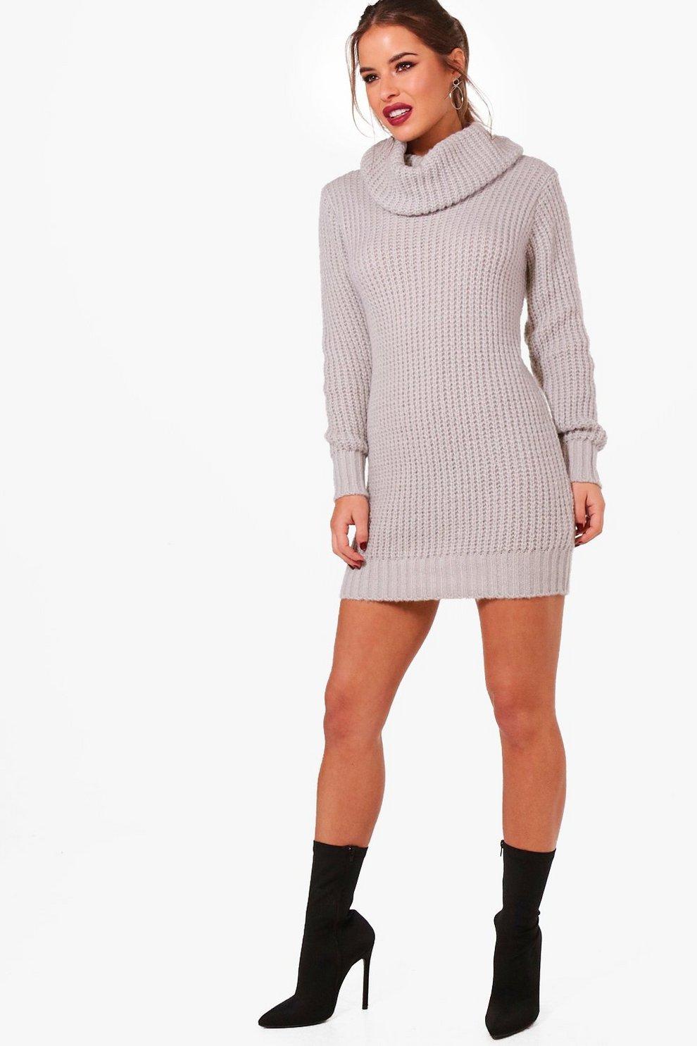 cb407955bfc Petite Oversized Soft Knit Cowl Neck Jumper Dress