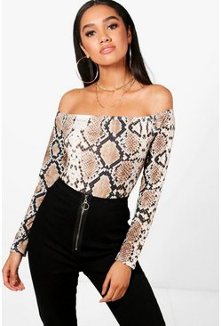 Womens Brown Petite Snake Off The Shoulder Bodysuit