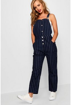 Womens Dark blue Petite  Stripe Button Front Dungaree