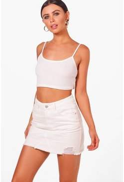 Womens Ecru Petite  Distressed Denim Mini Skirt