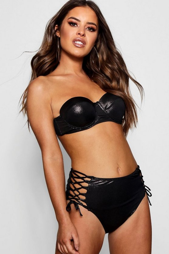 Petite Wet Look High Waisted Bandeau Bikini