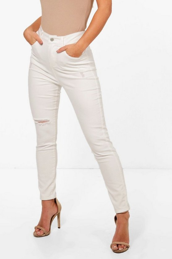 Petite Mid Rise Distressed Skinny Jeans