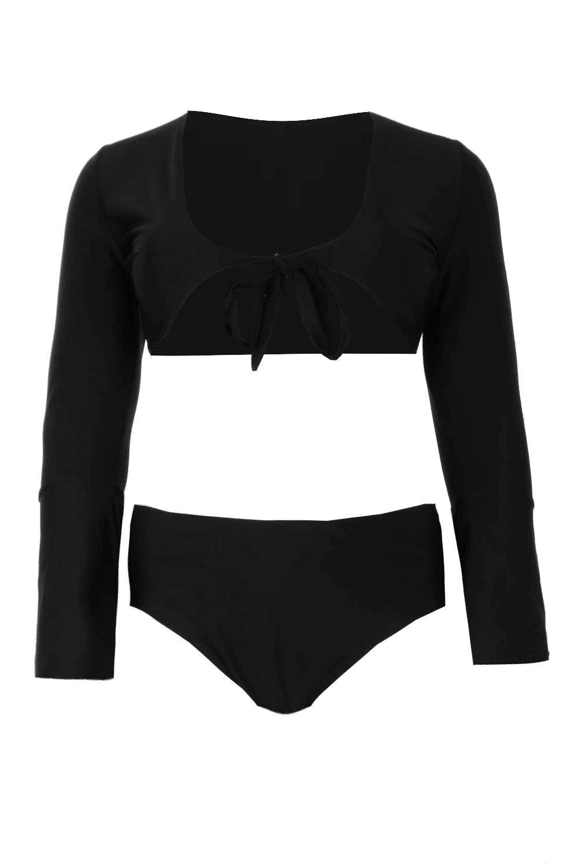 Plus Sleeve Tie High black Front Bikini Long Waist rrwgRdxq