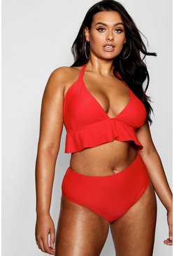 Womens Red Plus Underbust Ruffle High Waist Bikini