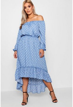 Womens Blue Plus Spotty Ruffle Off Shoulder Maxi Dress