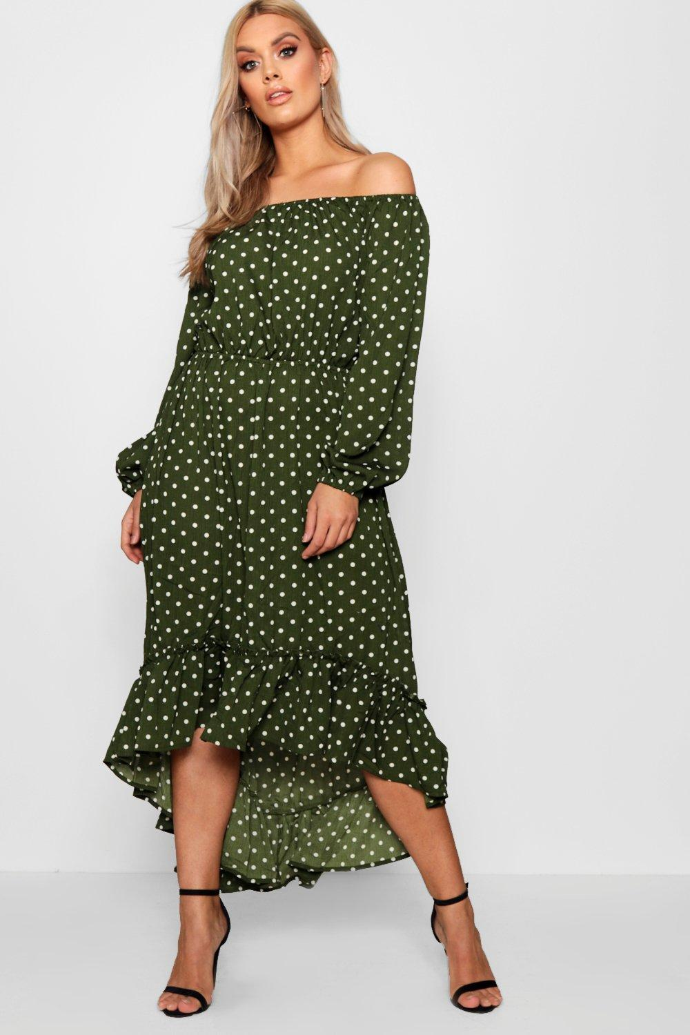 d40a0bfc2d Plus Spotty Ruffle Off Shoulder Maxi Dress | Boohoo